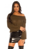 Trendy KouCla XL turtleneck coarse cord jumper Khaki